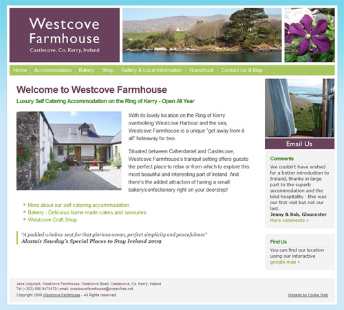 opens Westcove Farmhouse website