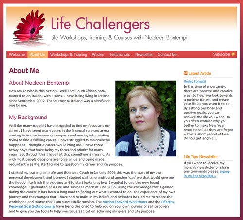 Noeleen Botempi's Life Challengers Website