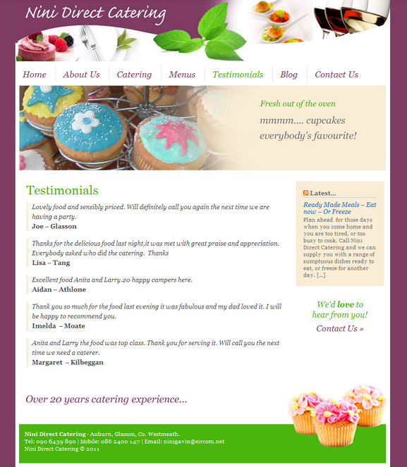 Nini Direct Catering website