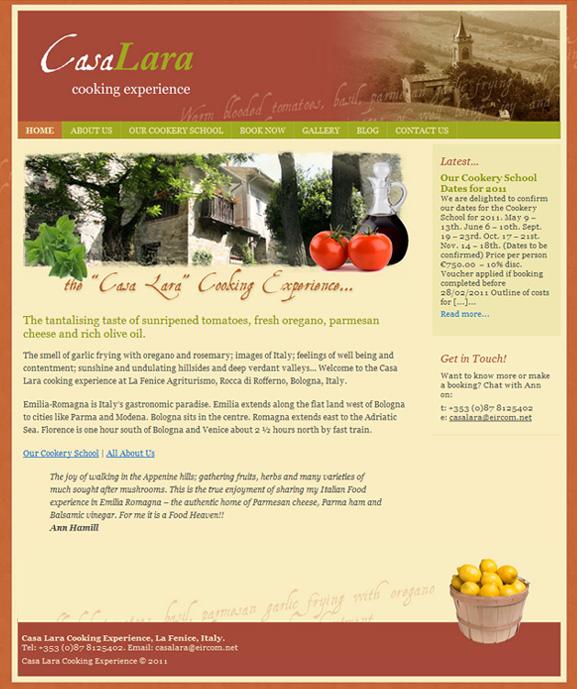 Casa Lara Cooking Experience website
