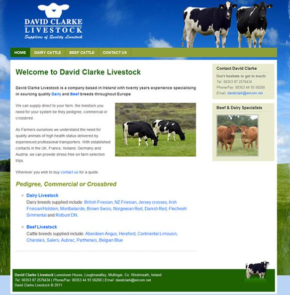 David Clarke Livestock website