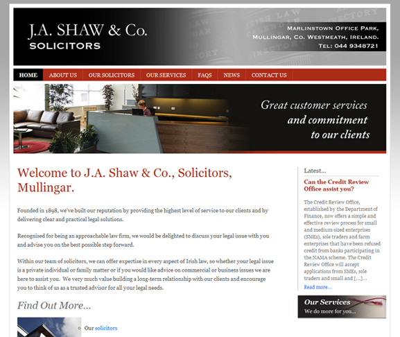J.A. Shaw & Co. Solicitors website