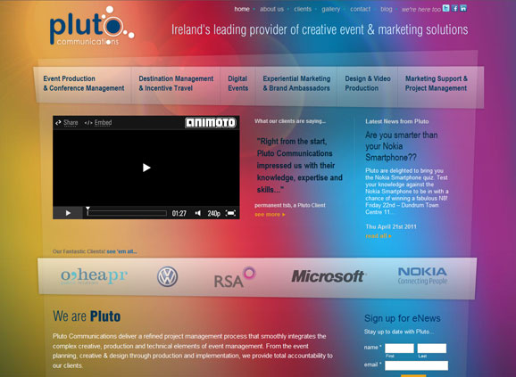 Pluto Communications - Event Management website