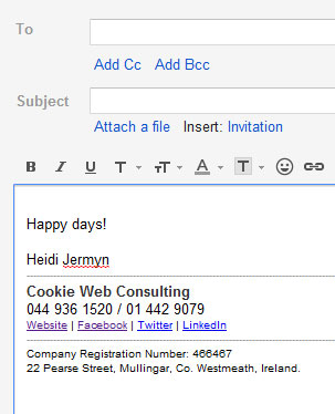 I'm not afraid to boast that this is an example of a plain but good email signature