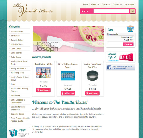 The Vanilla House Cookware online shop