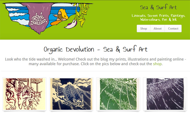Organic Devolution - Sea & Surf Art online shop - click to launch website